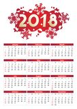 2018 year calendar. 2018 full year calendar, for A4, Letter or A3 paper size, of red and white positive colors, English language, week starts on Sunday Stock Photo