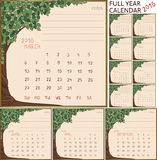 2016 year calendar. 2016 year full calendar, separate pages for each of 12 month in frame with art-nouveau style tree Stock Image