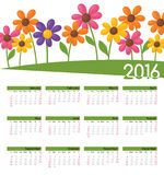 Year Calendar Funky Floral. January to December 2016 Calendar Stock Images