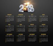 Year 2018 calendar. Year 2018 golden calendar on black background, starting on Sunday Royalty Free Stock Image