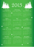 2015 year calendar. On green Royalty Free Stock Photos