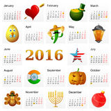 Year 2016 calendar with Holiday symbols. Year 2016 calendar with main Holiday symbols set featuring St. Valentines, Easter, Saint Patricks Day, Ramadan, Cinco De Royalty Free Stock Image