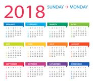 2018 calendar -  Illustration. 2018 year calendar -  Illustration Royalty Free Stock Photos