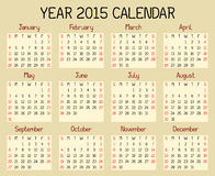 Year 2015 Calendar. An illustration of a calendar for the year 2015. A custom handwritten style is used Stock Images