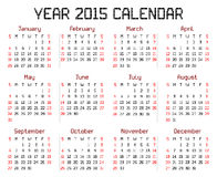 Year 2015 Calendar. An illustration of a calendar for the year 2015 on white. A square pixel style is used stock illustration