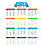 2021  Year calendar isolated on white background  illustra Stock Photos