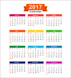 2017  Year calendar isolated on white background  illustra Royalty Free Stock Images
