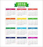 2018  Year calendar isolated on white background vector illustra Royalty Free Stock Photo