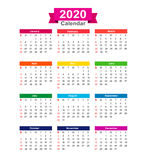 2020  Year calendar isolated on white background vector illustra. 2020 Year calendar isolated on white background vector illustration eps10 Royalty Free Stock Photos