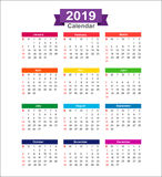 2019  Year calendar isolated on white background vector illustra. 2019 Year calendar isolated on white background vector illustration eps10 Royalty Free Stock Photos