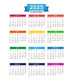 2025 Year calendar isolated on white background vector illustrat Stock Photo