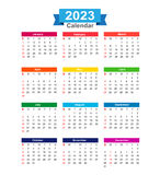 2023 Year calendar isolated on white background vector  Royalty Free Stock Photo