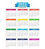 2022 Year calendar isolated on white background vector  Stock Photos