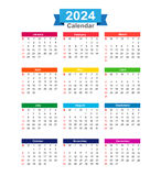 2024 Year calendar isolated on white background vector. Illustration eps10 Royalty Free Stock Photo