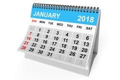 Calendar January 2018. 3d Rendering Stock Photography