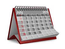 2019 year. Calendar for July. Isolated 3D illustration vector illustration