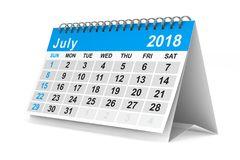 2018 year calendar. July. Isolated 3D illustration.  Stock Image
