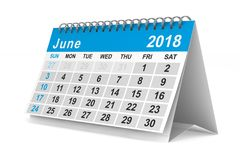 2018 year calendar. June. Isolated 3D illustration.  Stock Image