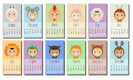 2017 year calendar with Kids in party Outfit. Children in Animal Carnival Costumes. 12 month, full year calendar design template. Calendar for kids Stock Images