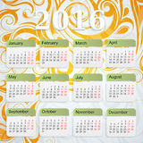 Year 2016 calendar. Calendar for 2016 leap year with ornamental backdrop Royalty Free Stock Photo