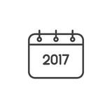 2017 Year Calendar line icon, outline vector sign Royalty Free Stock Photography