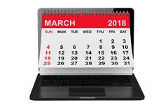 March 2018 calendar over laptop screen. 3d rendering stock illustration