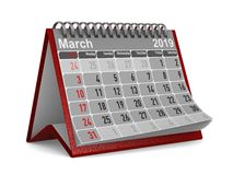 2019 year. Calendar for March. Isolated 3D illustration royalty free illustration