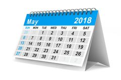 2018 year calendar. May. Isolated 3D illustration.  Royalty Free Stock Photography