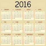 Year 2016 Calendar Stock Images