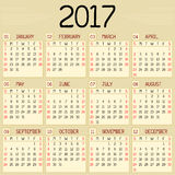 Year 2017 Calendar. A monthly calendar for the year 2017. A custom handwritten style is used Stock Photos