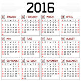 Year 2016 Calendar Stock Images