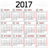 Year 2017 Calendar Stock Images