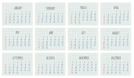 2015 year Calendar on notebook page. Hand written monthly calendar of year 2015 over white school paper sheet Stock Photo