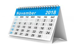 2018 year calendar. November. Isolated 3D illustration.  Royalty Free Stock Images