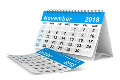2018 year calendar. November. Isolated 3D illustration.  Stock Images