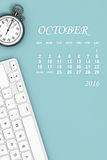 2016 year calendar. October calendar. 3d Rendering. 2016 year calendar. October calendar with Stopwatch and Keyboard. 3d Rendering Stock Images