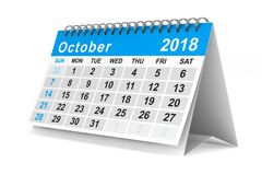 2018 year calendar. October. Isolated 3D illustration.  Stock Image