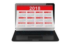2018 Year Calendar over Laptop Screen. 3d Rendering. 2018 Year Calendar over Laptop Screen on a white background. 3d Rendering Stock Image