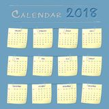 2018 Year Calendar Vector Design. 2018 Year Calendar Paper Note Vector Design template. Week starts from Sunday. Vector Illustration eps10 Royalty Free Stock Images