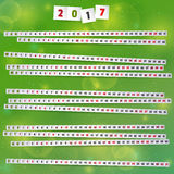 2017 Year Calendar with paper strips on joyful green background. Smartly grouped and layered. Used font Passion One - SIL Open Font License v1.10.n Stock Image