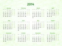 2014 Year calendar on patterned wavy background. Royalty Free Stock Image
