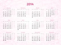 2014 Year calendar on patterned wavy background. Rosy delicate colors Royalty Free Stock Images