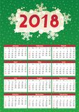 2018 year calendar, red and green. 2018 full year calendar, for A4, Letter or A3 paper size, of red and green holiday positive colors, English language, week Stock Photo