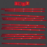 2017 Year Calendar with red strips on dark background. Royalty Free Stock Photography