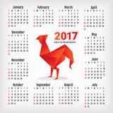 2017 year calendar with rooster. 2017 year calendar with Chinese symbol of the year - rooster, vector illustration Stock Photos