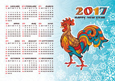 2017 year calendar with rooster. 2017 year calendar with colorful rooster, vector illustration Royalty Free Stock Photography