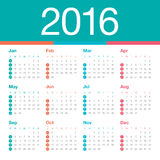 2016 Year Calendar. Simple calendar for 2016 year Stock Images