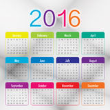 2016 Year Calendar. Simple calendar for 2016 year Stock Photos