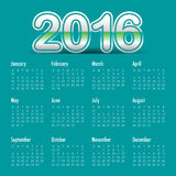 2016 Year Calendar. Simple calendar for 2016 year Royalty Free Stock Photos