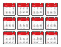 2016 year calendar. Simple calendar for 2016 year Stock Photo